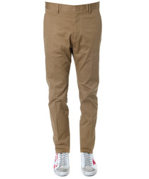 brown cotton tailored trousers