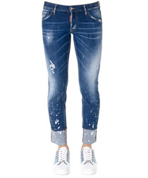 paint spot cotton slim jeans