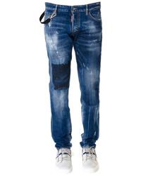 vicious dark wash cotton patch jeans