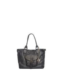 Sirio black leather shopper bag