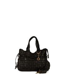 Trescore black leather shopper bag