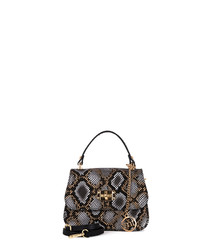Brera black leather grab bag