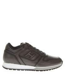 H321 taupe brushed leather sneakers