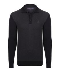 graphite pure cotton long sleeve polo