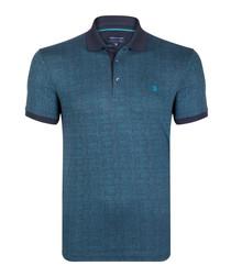 teal cotton blend polo shirt