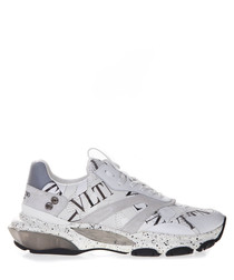 Bounce white leather grid sneakers
