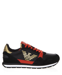 black leather mix crest sneakers