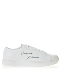 white leather signature sneakers