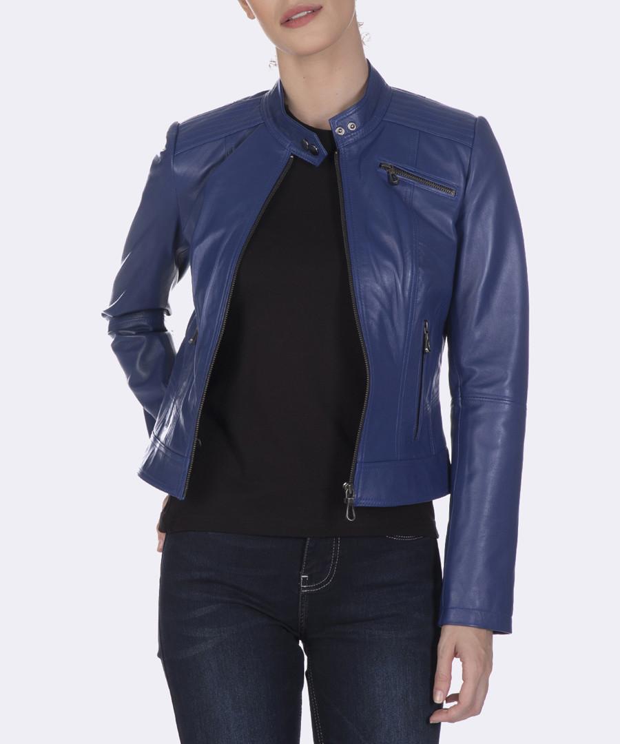 Dark blue leather jacket Sale - giorgio di mare