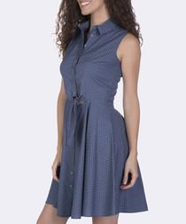 Indigo pure cotton sleeveless mini dress
