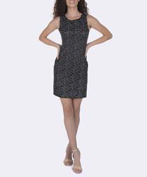 Black pure cotton print mini dress