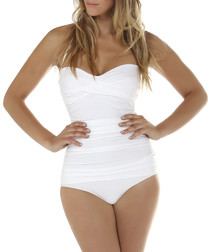 White ruched bandeau swimsuit