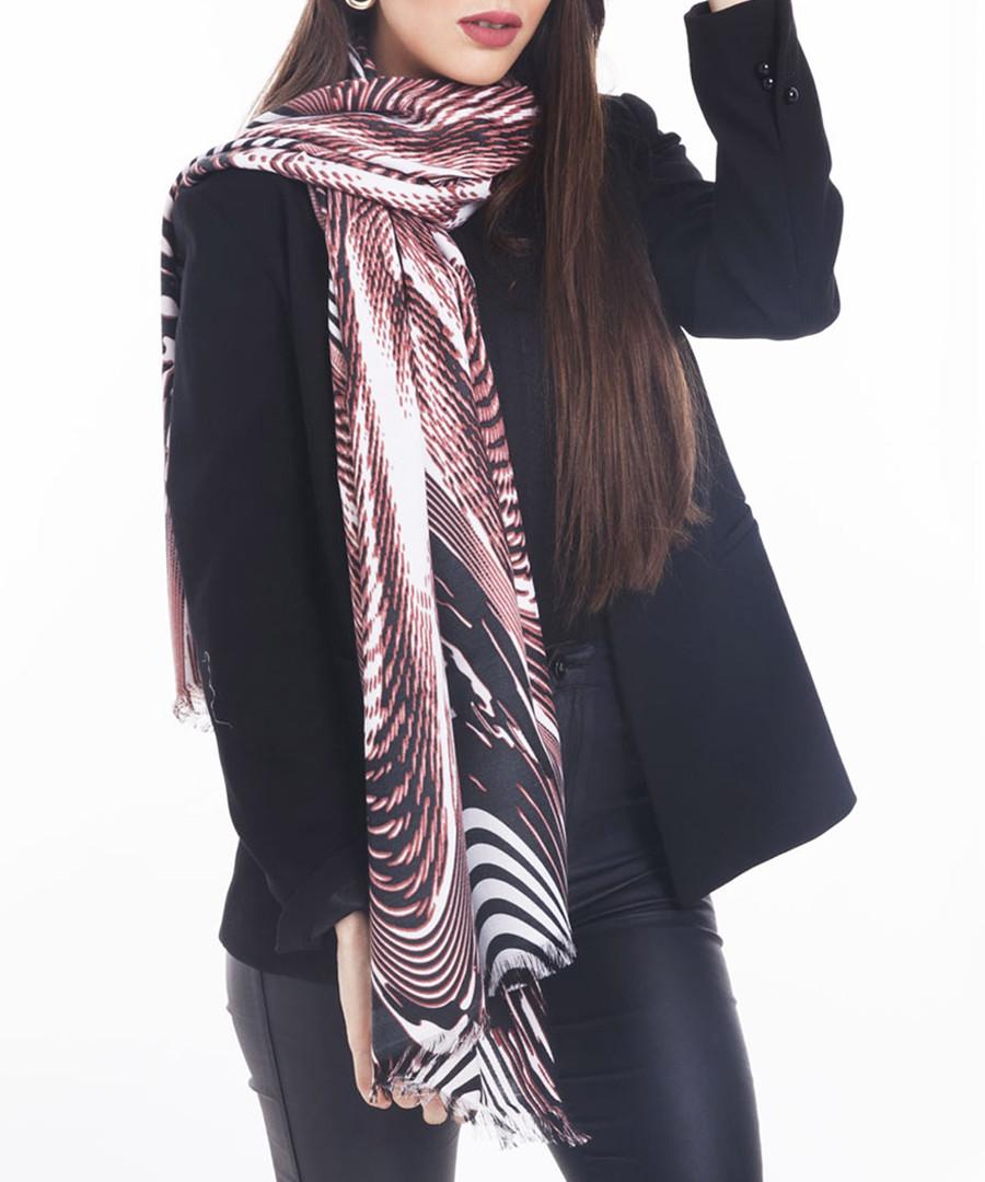 geo garnet red warp scarf 70 x 180cm Sale - alber zoran