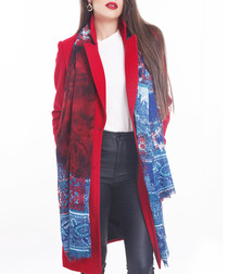 taj red & blue scarf 90 x 190cm