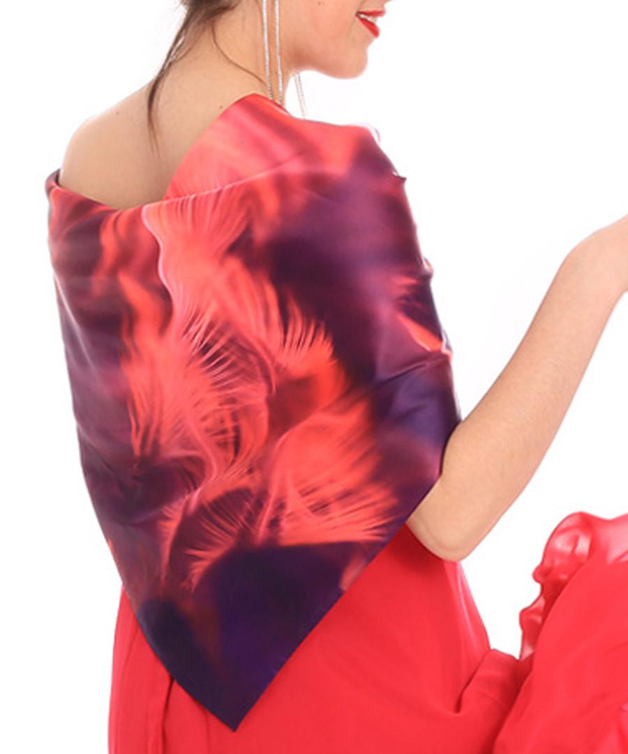 saturno red feather print scarf Sale - alber zoran