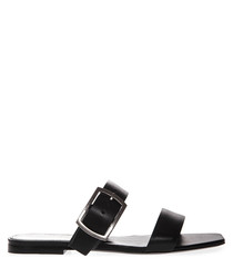Black leather double strap sandals
