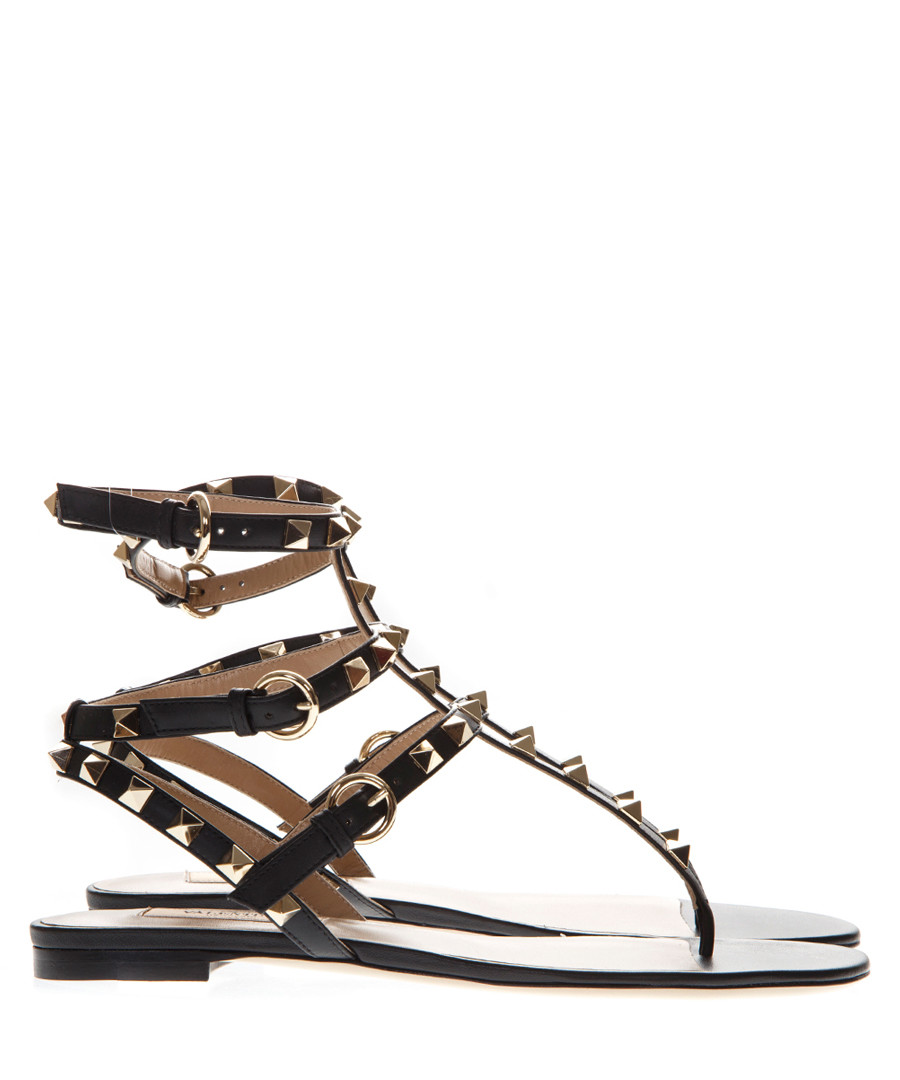 8feff6277127 Black studded leather sandals Sale - valentino garavani