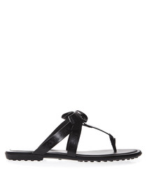 Black logo leather sandals