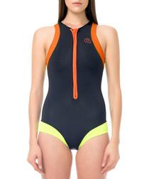black & peach swimming costume
