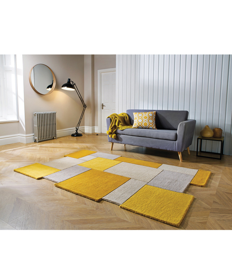 Collage ochre pure wool rug 180cm Sale - flair rugs