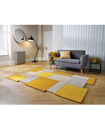 Collage ochre pure wool rug 180cm