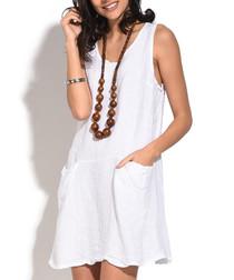 white pure linen mini dress