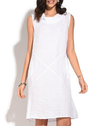 white pure linen sleeveless dress