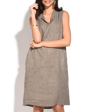 c023fc7d90 taupe pure linen sleeveless dress Sale - William De Faye Sale