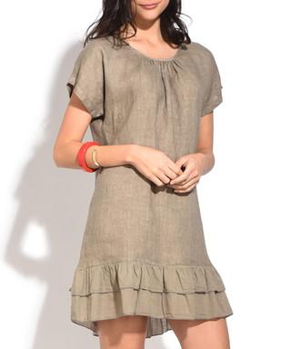 be94a37b5f taupe pure linen ruffel hem dress Sale - William De Faye Sale