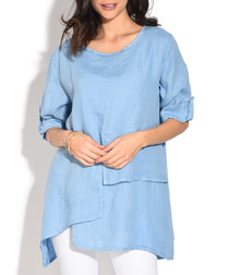 sky pure linen relax blouse
