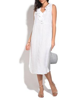 f75e70ced4 white pure linen ruffle midi dress Sale - William De Faye Sale
