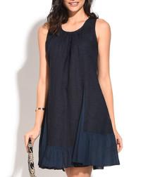 midnight pure linen sleeveless dress