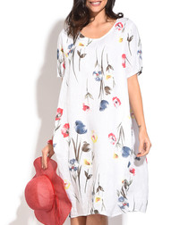white floral linen short sleeve dress