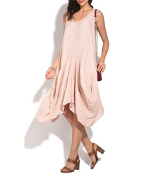 old rose pure linen bunched dress