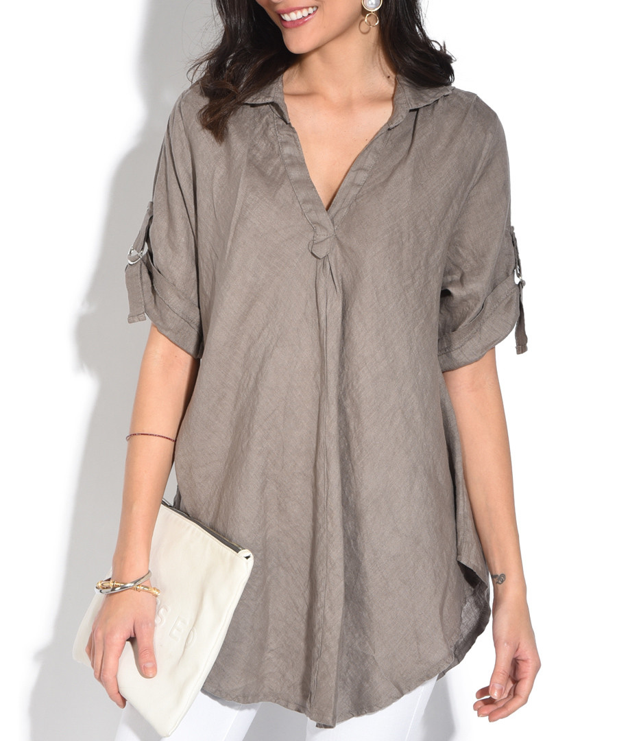 taupe pure linen roll-sleeeve top Sale - william de faye