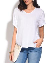 white pure linen T-shirt
