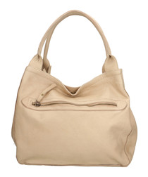 Taupe leather zipped shoulder bag