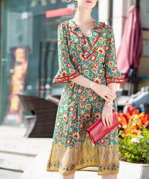 Green & red floral bell sleeve dress