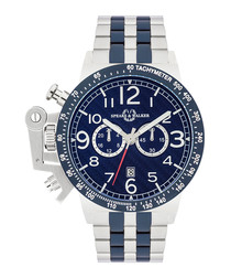 Maximus navy stainless steel link watch
