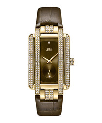 Mink diamond, gold-plate & leather watch