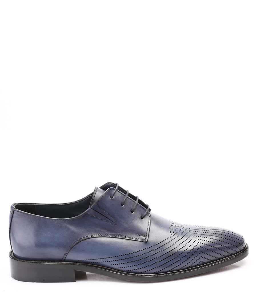 blue leather chevron derby shoes Sale - s baker