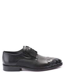 black leather weave-toe derby shoes