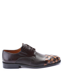 walnut leather weave-toe derby shoes