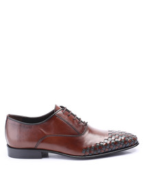 brown leather weave-toe oxford shoes