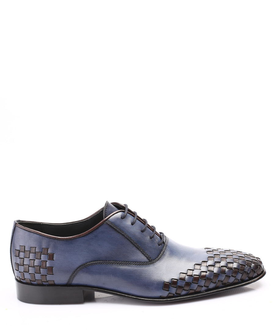 blue leather weave detail oxford shoes Sale - s baker