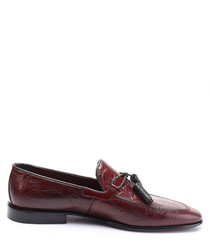 bordeaux leather tassel loafers