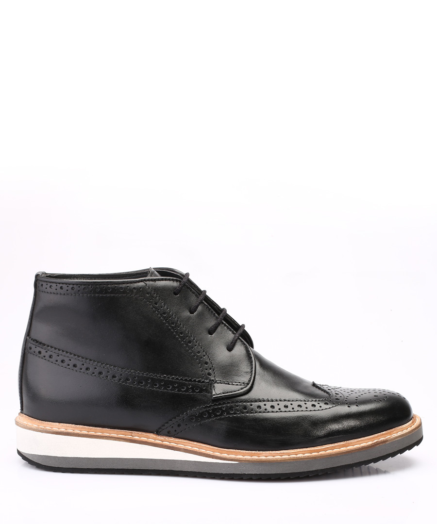 black leather flat brogue boots Sale - s baker
