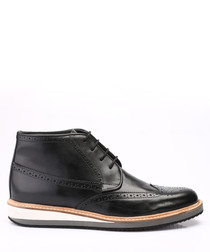 black leather flat brogue boots