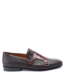 black & oxblood leather monk shoes