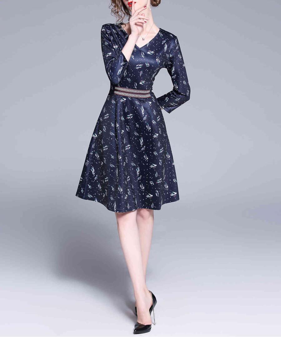 Navy & white print fit & flare dress Sale - Kaimilan